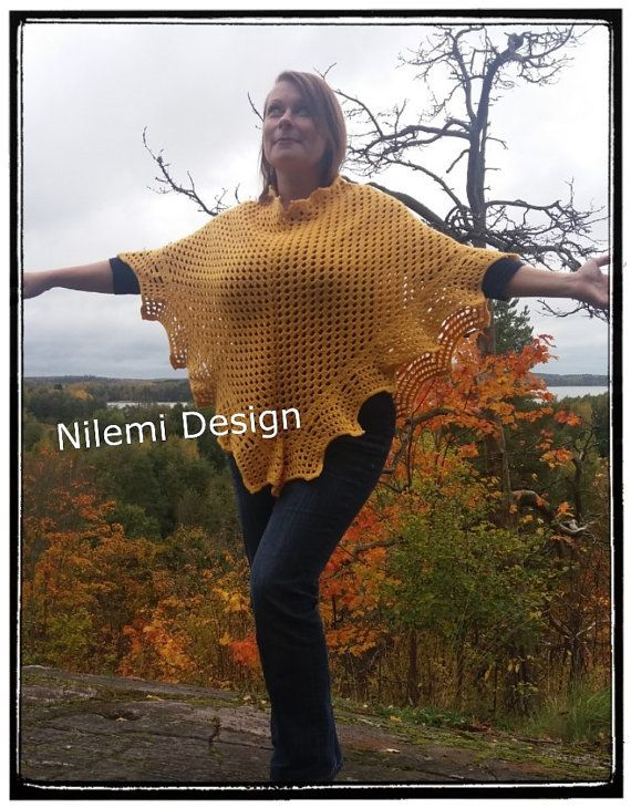 Fall in Love  poncho by NilemiFI on Etsy