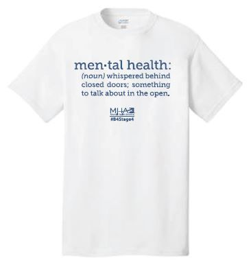 """Mental Health Definition - White Support mental health awareness and get people talking about mental health with this innovative mental health definition - """"Mental health: (noun) whispered behind closed doors; something to talk about in the open.""""  Unisex shirt is pre-shrunk, 100% ringspun cotton jersey knit. (**White available in Medium and Large only)"""