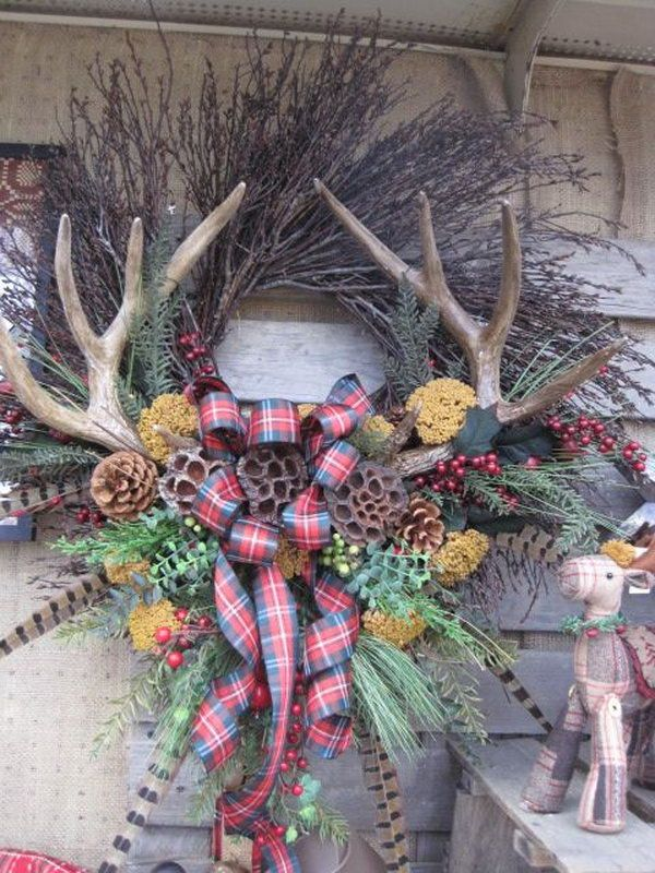 Holiday Wreath with Antlers, Creative Wreath Ideas for Christmas, http://hative.com/creative-wreath-ideas-for-christmas/,