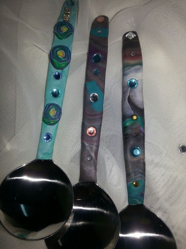 Polymer clay covered sugar spoon. By Caren