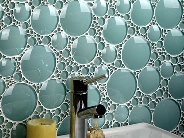 Interesting idea...DIY with mason jar bottoms? Beautiful backsplash bubble wall tile turquoise glass mosaic tile