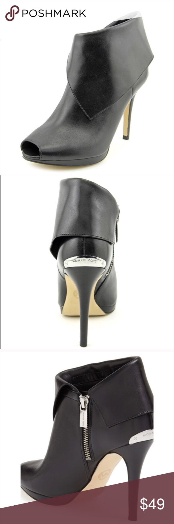 """Michael Kors Kendra Peep Toe Bootie These were worn once for a fancy event. Perfect with skirt, leggings, skinny jeans. An asymmetrical folded cuff lends sultry sophistication to a flirty peep-toe bootie lifted by a leg-lengthening stiletto heel. 4"""" heel, 6"""" boot shaft. Side zip closure. Leather upper/ synthetic lining/ rubber soul. By MICHEAL Michael Kors; imported. MICHAEL Michael Kors Shoes Heels"""