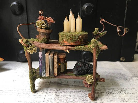 Faery Bookshelf Miniature Fairy Furniture Fairy Shelf Miniature Bookshelf Crystals Books Ooak Handmade By Thefaeryforest Fairy Garden Furniture Fairy Garden Miniature Bookshelf