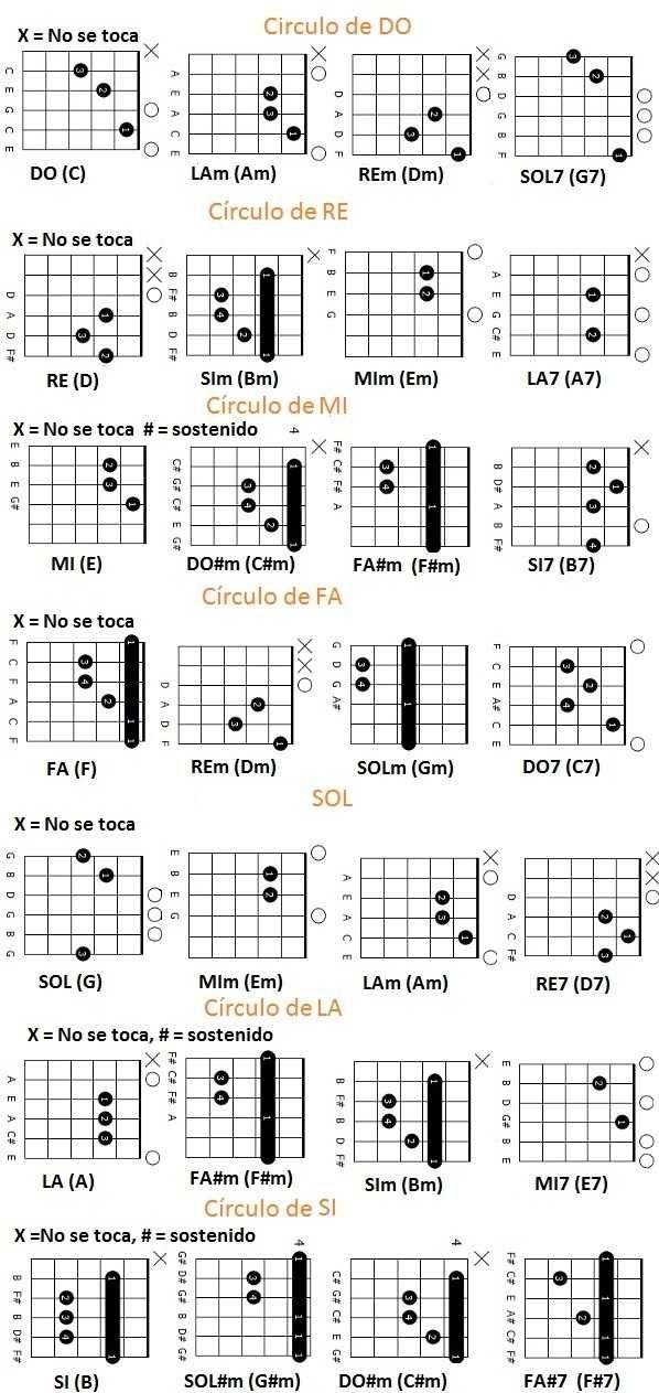 los círculos armónicos de guitarra básicosse crean a partir de los grados de la escala musical I, VI, II, V, I. que de forma completa tiene la siguiente secuencia I, II, III, IV, V, VI.cada uno d…