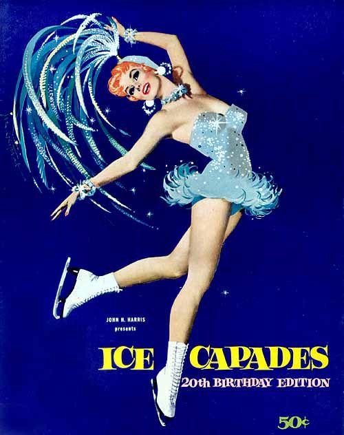 """Ice Capades"" figure skating pinup girl by artist Jon Whitcomb."