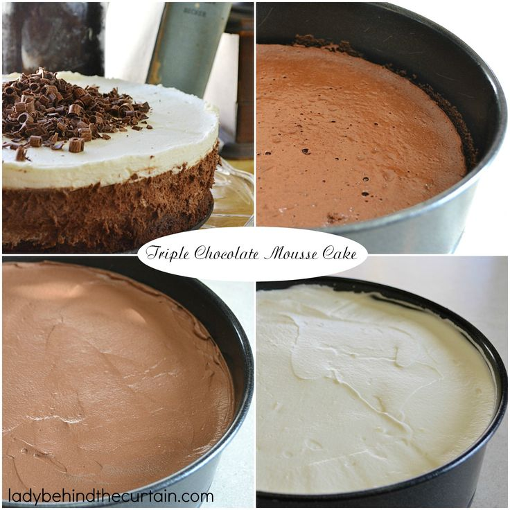 Triple Chocolate Mousse Cake | THREE LAYERS OF CHOCOLATE! This is the best mousse cake ever! You can never go wrong with chocolate. This cake starts with a homemade chocolate cake. Then a layer of dark chocolate mousse and if that wasn't enough another layer of chocolate but this time white chocolate is in order.