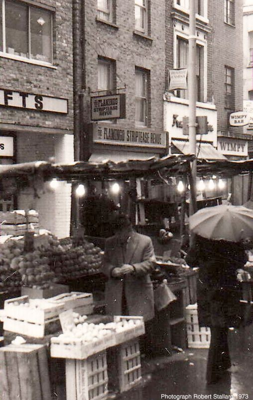 Berwick Street Market Soho. 1973, Wimpy At 1 Berwick St Is now home to Gosh Comics. Ironic you say Popeye! http://www.goshlondon.com/blog/