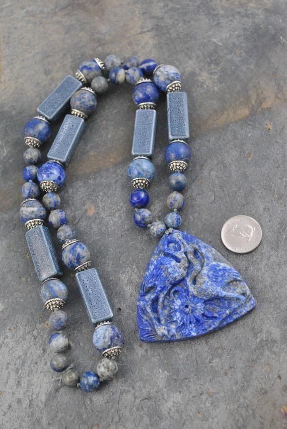 "LOVELY DARK BLUE LAPIS LAZULI ROUND BEADS PENDANTS /& TIBET SILVER NECKLACE 18/"""