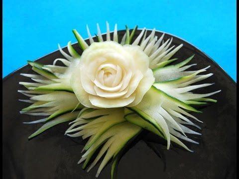 020. Free fruit and vegetable carving course kohlrabi aster/ Darmowy kurs carvingu aster z kalarepy - YouTube