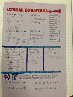 Math Dyal: Lovin' Literal Equations. Free notes download for teaching literal equations with symbols