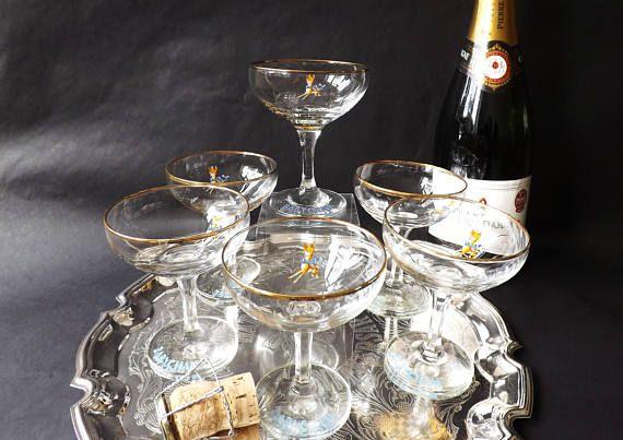 6 #Champagne #Coupe #Retro #Babycham #Barware #Prosecco Sparkling