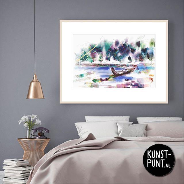 #tip #interieur #wonen Geef je #slaapkamer een metamorfose met een #schilderij v.d. bekende kunstenaar #AnnemiekPunt. #Korjaal in de #Amazone #specialedition, 63x82cm https://www.kunst-punt.nl/