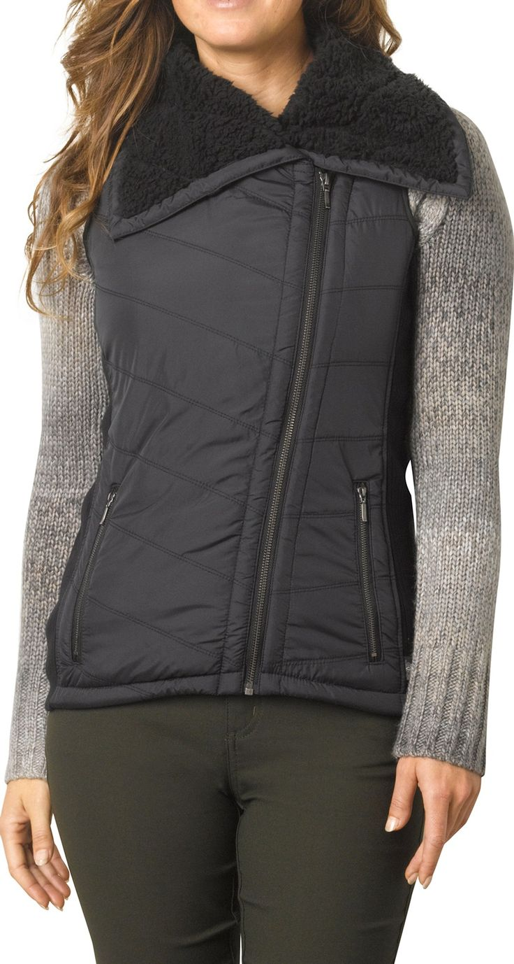 Prana Female Diva Vest - I Have this in black and deep red. Really like the versatility- can wear it open, partially zipped, fully zipped, and with the collar all the way up. It's also very cozy!