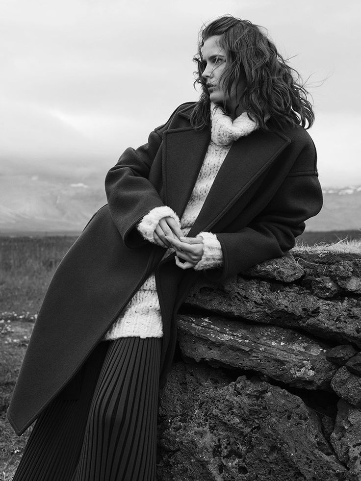 Zlata Mangafic wears cozy in cable knit sweaters, long coats and heavy trousers stars in Harper's Bazaar Mexico Magazine December 2015 issue Photoshoot