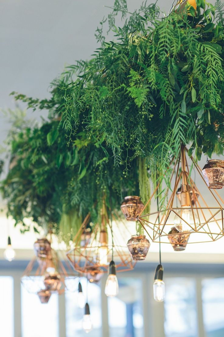 Hanging foliage and geometric lighting - creative Perth florist Botanica Naturalis