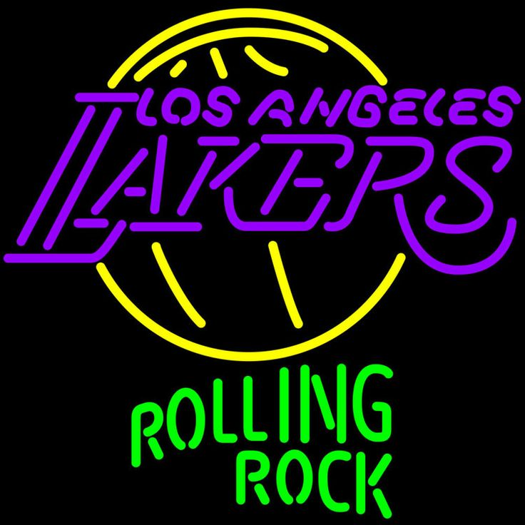 Rolling Rock Los Angeles Lakers NBA Neon Beer Sign, Rolling Rock with NBA Neon Signs | Beer with Sports Signs. Makes a great gift. High impact, eye catching, real glass tube neon sign. In stock. Ships in 5 days or less. Brand New Indoor Neon Sign. Neon Tube thickness is 9MM. All Neon Signs have 1 year warranty and 0% breakage guarantee.