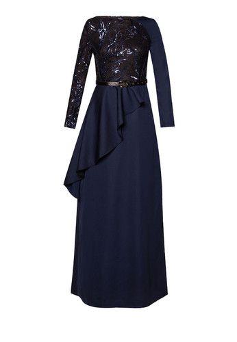 Wrap Cascade Sequin Maxi Dress
