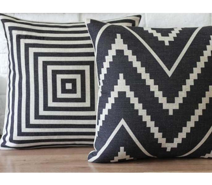 Linen pillow with black chevron pattern eco friendly decorative throw pillow black cushion cover. $21.99, via Etsy.