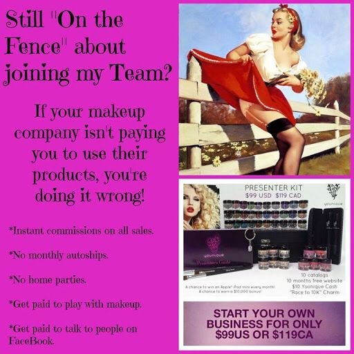 Join my team! Work from home get free products and make money just by using Social Media sites!! The amount you can earn is unlimited. Does your makeup provider pay you to use their product?! Younique does!