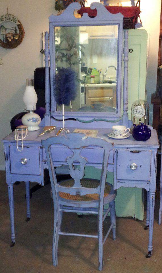 Pretty Lilac Shabby Chic Antique Vanity by ShabbyChicAlchemy, $499.00
