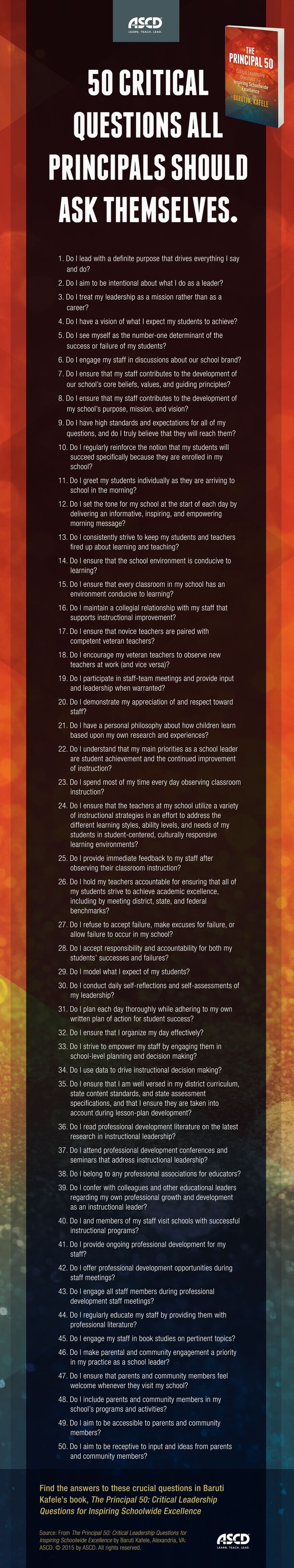 The Principal 50: Critical Leadership Questions for Inspiring Schoolwide Excellence!   What a FANTASTIC reflection tool! LOVE THIS!