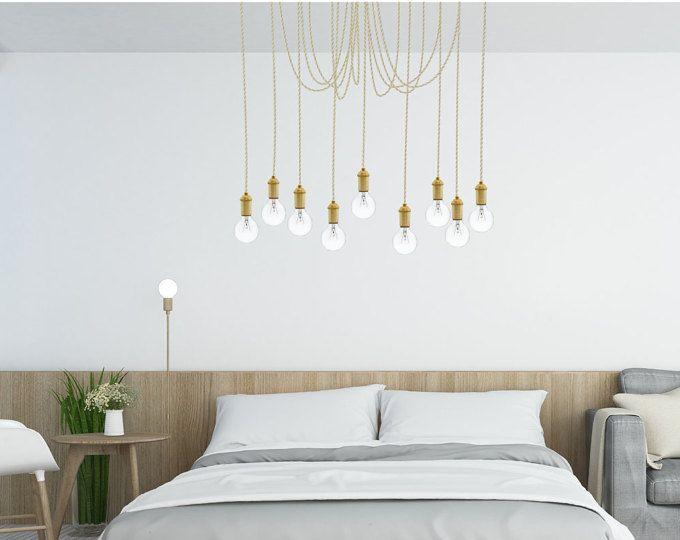 Multi Pendant Bedroom Chandelier Modern Chandelier Beige Neutral Brass Unique Modern Lighting Chandelier Pendant Lights Antique Bulbs Low Energy Light Bulbs