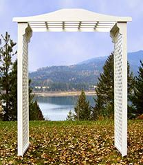 white wood rectangular wedding arch