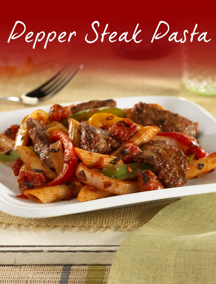 This Pepper Steak Pasta recipe is perfect for your next fire-roasted feast. Juicky strips of beef sirloin steak tossed with bell peppers, onions, firey tomatoes and pasta - pin now!