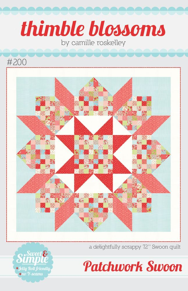 """by Thimble Blossoms A delightfully scrappy version of the original Swoon quilt pattern. Finished quilt measures approximately 72"""" x 72"""". Fabric requirements: - 1 jelly roll (or 36 2.5"""" strips_ - 1 yar"""