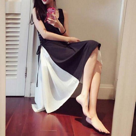 ラウンドネックがセクシー☆バイカラーシンプルフレアドレスワンピース - 韓国プチプラパーティードレス通販『TENDERLY DRESS』結婚式二次会お呼ばれ
