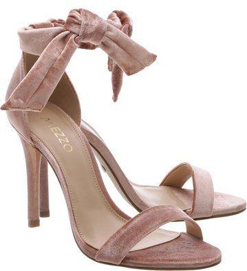 Sandália Clássica Veludo Amarração Rose
