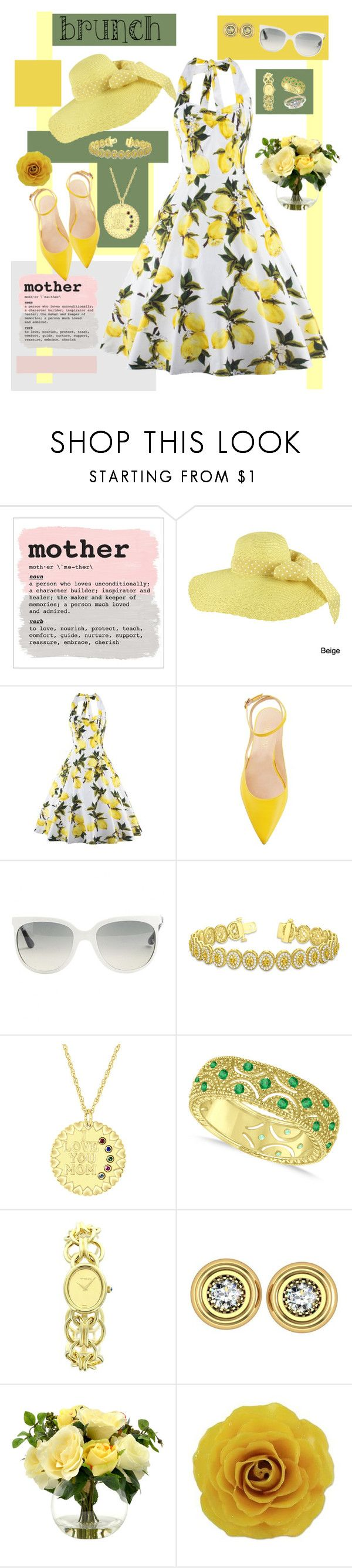 """""""Mother's Day Brunch - II"""" by mary-kay-de-jesus ❤ liked on Polyvore featuring Faddism, Ray-Ban, Allurez, Tiffany & Co., Barbara Nanning and NOVICA"""