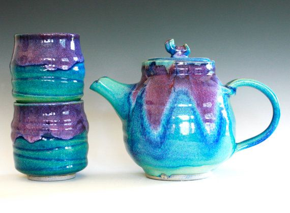 New Moon Tea Set, Ceramic Tea set, ceramics and pottery. This makes my hands itch to create :) Oh how I wish there was a local place to learn how to throw pots!