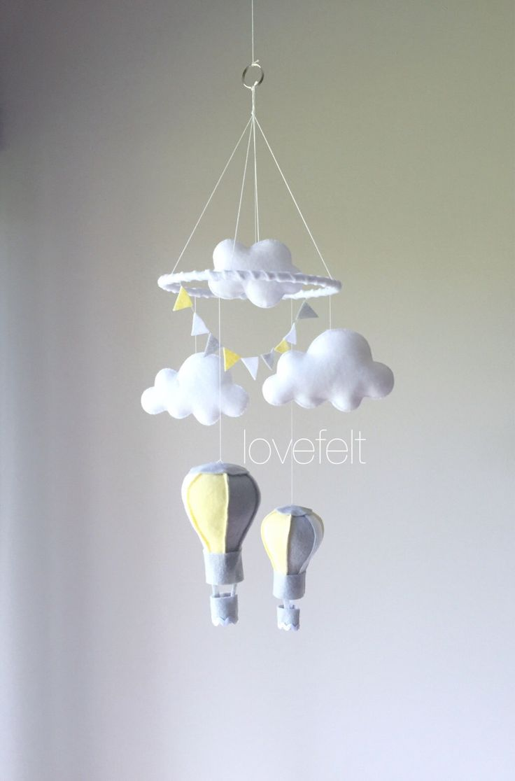 Baby mobile - hot air balloon mobile - clouds mobile - baby mobile yellow gray - baby mobile clouds - balloon mobile by lovefeltmobiles on Etsy https://www.etsy.com/listing/469302523/baby-mobile-hot-air-balloon-mobile