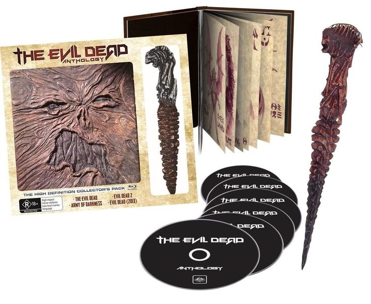 Evil Dead Anthology [Blu-ray] Limited Edition w/ Replica Prop Dagger from EVIL DEAD   All discs are Region FREE EXCEPT Evil Dead II (1987) is (REGION B LOCKED) For the first time in the world, all four fantastic Evil Dead Films including the EVIL DEAD, EVIL DEAD 2, ARMY OF DARKNESS and EVIL DEAD 2013. This collectable pack also features The NECRONOMICON OUTER, 16 pages of original drawings and a 23 cm replica prop dagger from EVIL DEAD 2 PLUS heaps of bonus features and the premiere of t...