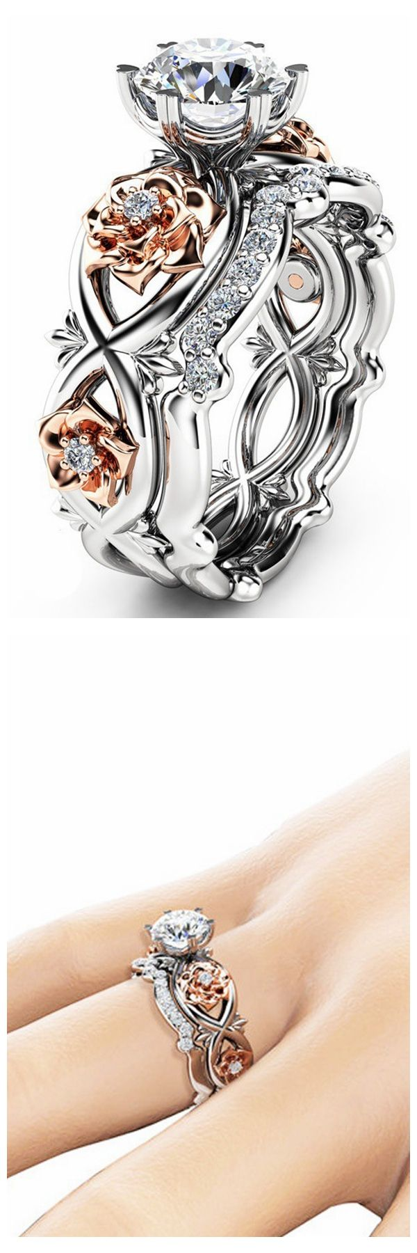 [Newchic Online Shopping] 50%OFF Women Rose Gold Flower Heart Ring