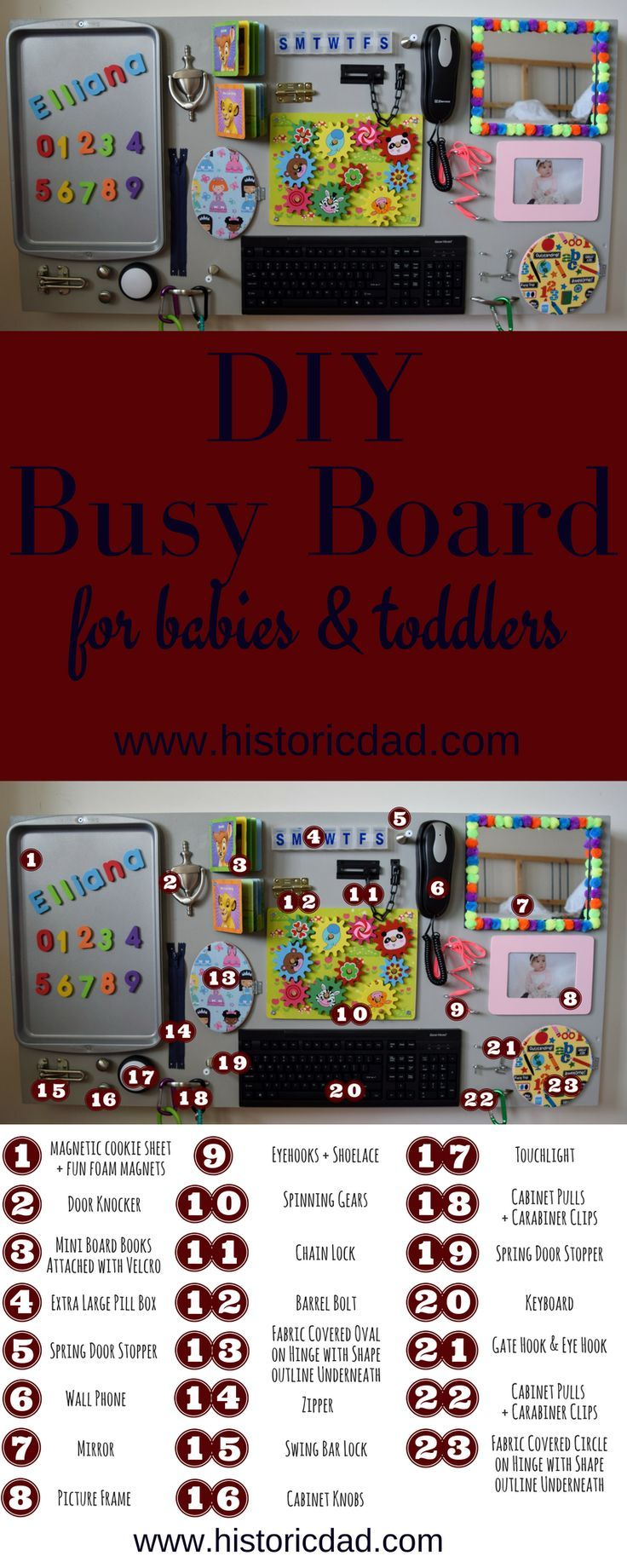 DIY BUSY BOARD - PERFECT FOR BABIES AND TODDLERS!! About 10 months ago, my wife and I were blessed with our precious little girl, Elliana! Over the course of these 10 months, we have had a blast playing with Elliana and watching her learn and play indepen