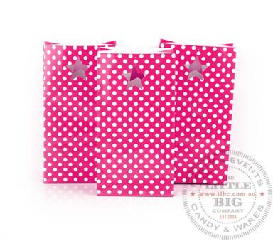 Paper Party Bags - Hot Pink Polka Dot Series (6Pk) | Favor Bags and Boxes | Party Collection | The Little Big Company Pty Ltdparty, glass bottles, swizzle sticks, beverage dispenser, birthday, gift, rock candy