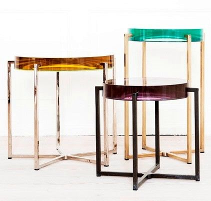 by McCollin Bryan, UK. Tinted lens table with acrylic top and brass base #yellow #green