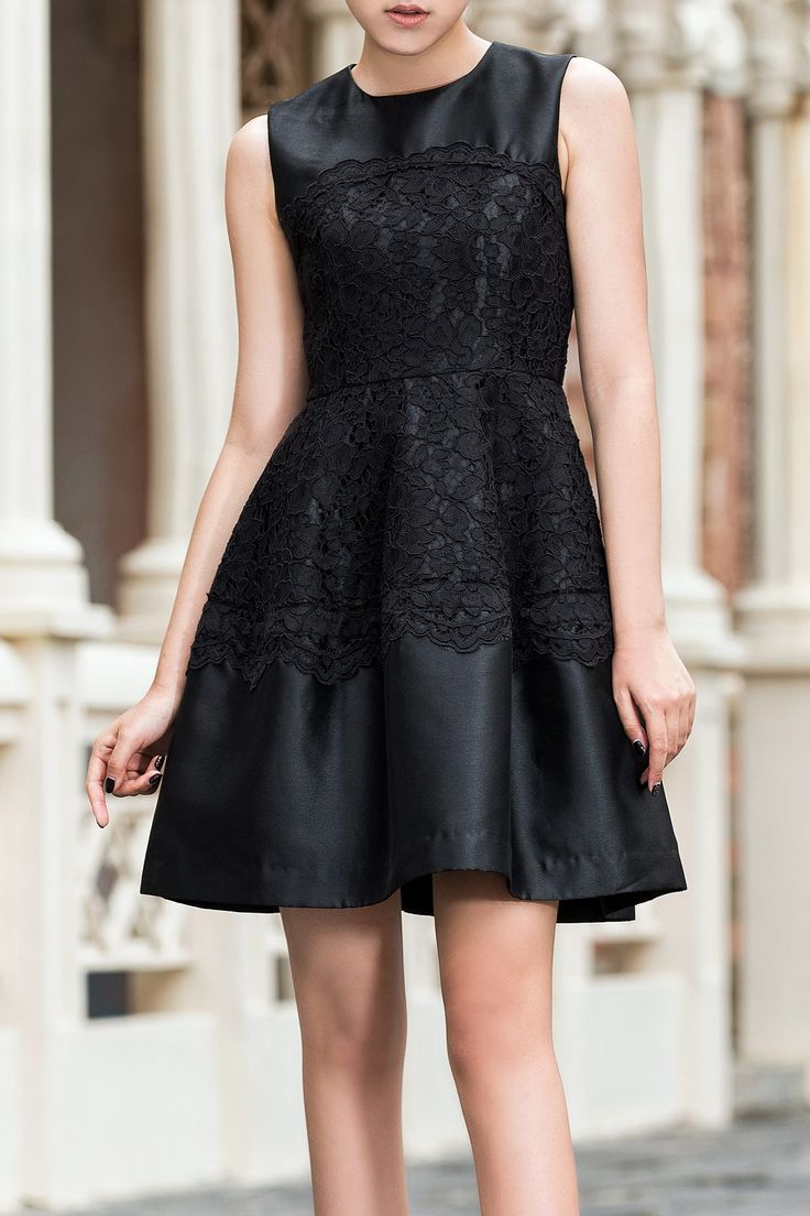 Lace Embroidered Fit and Flare Dress - beautiful lace, adorable silhouette, sleek LBD