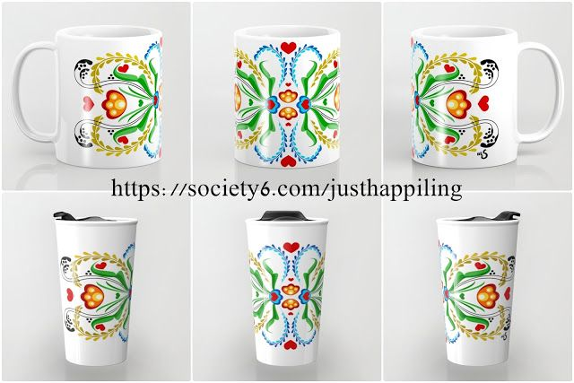 Scandinavian Folk Art ~ Tulip. Home Decor ideas, and accessories with white background.   Home Decor, Bedding, Bath Mat, Rug, Throw Pillows, Floor Pillows, Tapestries, Wall Art, Wall Clocks, Tote bags, Shower Curtains, Coffee Mugs, Travel Mugs, Apparel, Throw Blankets, and More