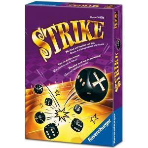 Strike, editado por ravensburger (Fr), Categgoría filler, juego de dados, edad, a partir de 8 años, de 2 a 5 jugadores, duración de partida, 5-15 min.