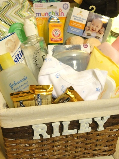 Baby Gift Basket Filler Ideas : Baby shower gift clue craft letters on to basket and