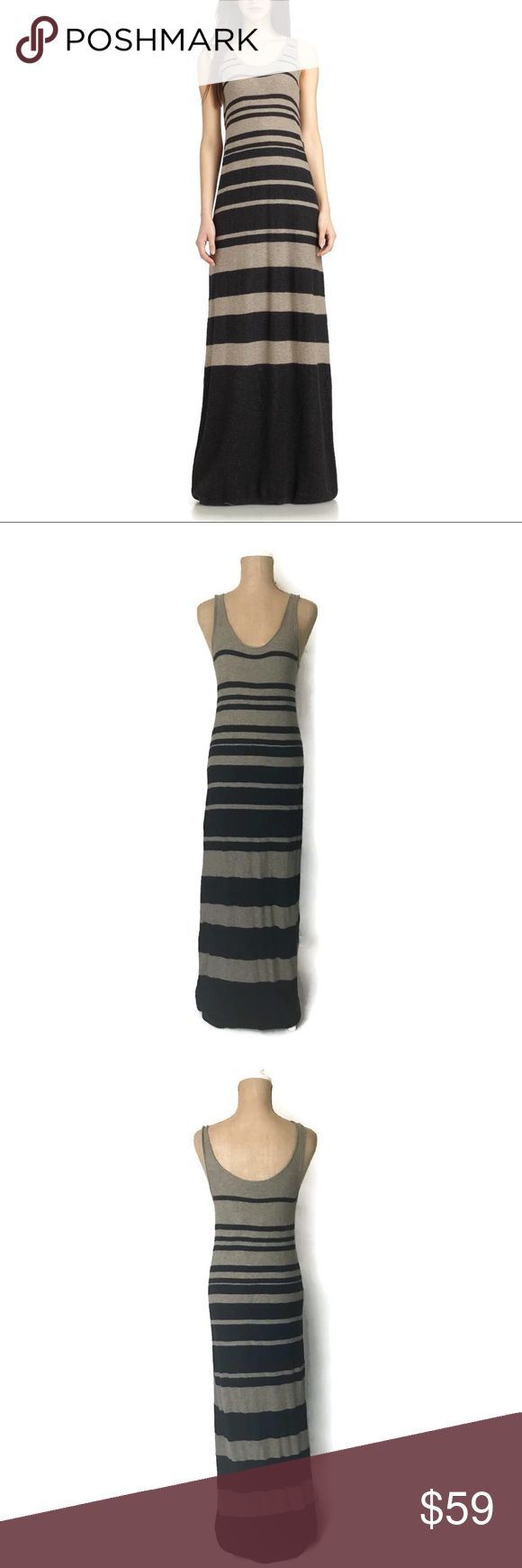 Vince Striped Sleeveless Extra Long Maxi Dress Info:Vince Extra Long Maxi Dress M Beige Black Striped Sleeveless Cotton Shift - Condition: Pre-owned. - Tag Size: M  *** Please see measurements below - Material: 100% Cotton - Care: Hand Wash - Flat Measurements (unstretched) Bust (armpit to armpit) - 16 inches (Size 32) Length - 67 inches - *** Any known defects (i.e. rips, stains..etc) - if present - on an item will be disclosed under item condition and highlighted in the listing…