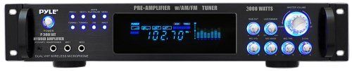 Pyle P3001AT 3000W Hybrid Pre Amplifier with AM/FM Tuner by Pyle. $142.28. From the Manufacturer                  3,000 Watt Hybrid Pre-Amplifier with AM/FM Tuner Click here for a larger image     Front Interface Control Center Click here for a larger image   Digital Fluorescent Output Display Click here for a larger image     Accessories Included Click here for a larger image   Rear Panel Click here for a larger image  Powerful Home Receiver This pre-amplifier receiver s...