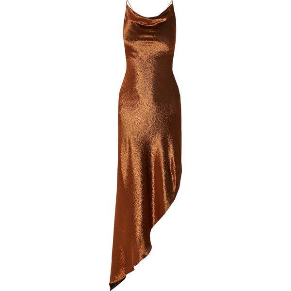 Juan Carlos Obando Asymmetric metallic stretch silk-blend maxi dress (11855 MAD) ❤ liked on Polyvore featuring dresses, brown maxi dress, asymmetrical hem maxi dress, tie back maxi dress, lace up maxi dress and open back dresses