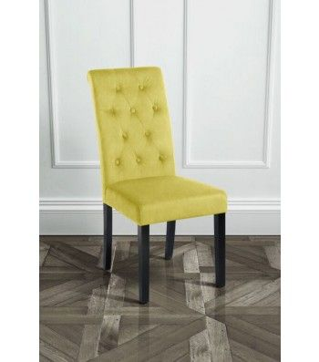 Genoa Olive Upholstered Scroll Back Dining Chair with Dark Legs
