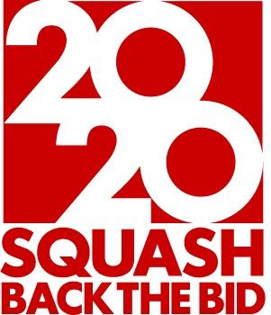 The Squash Back the Bid 2020 Official Logo