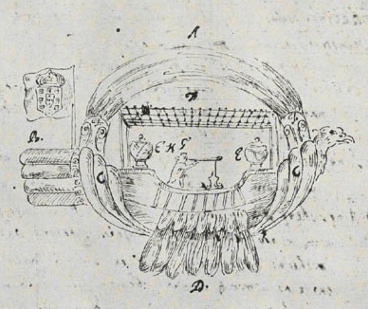 Esboços da Passarola, de 1709: em cima, publicado num jornal de Viena.
