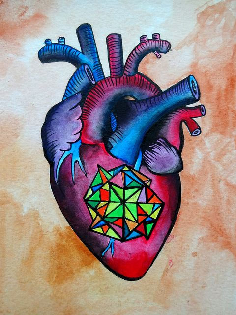 """Heart  ink and watercolor 5"""" x 7"""""""